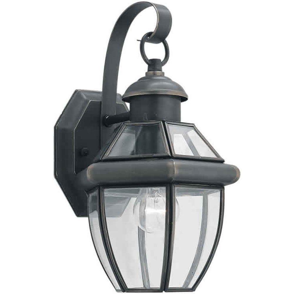 Talista 1-Light Outdoor Royal Bronze Wall Lantern with Clear Beveled Glass