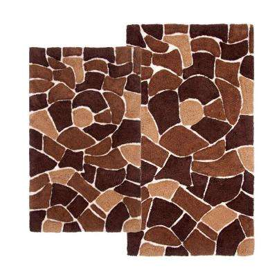 Boulder 21 in. x 34 in. and 24 in. x 40 in. 2-Piece Bath Rug Set in Brown