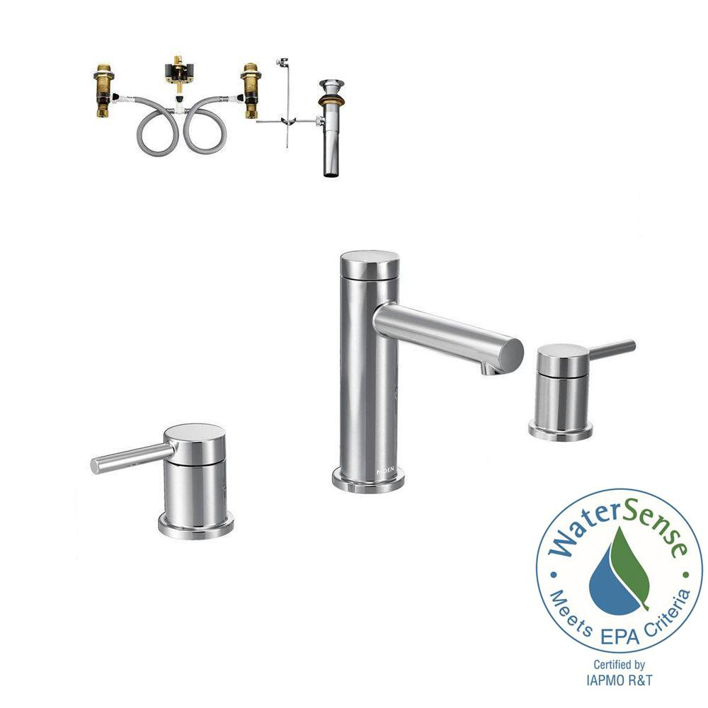Moen Align 8 In Widespread 2 Handle Bathroom Faucet Trim Kit With Valve In Chrome T6193 9000