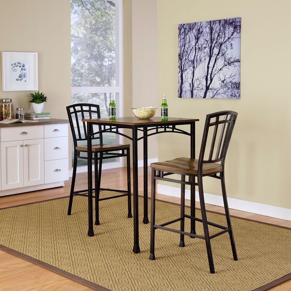 Home Styles Modern Craftsman 3 Piece Deep Brown Bar Table Set