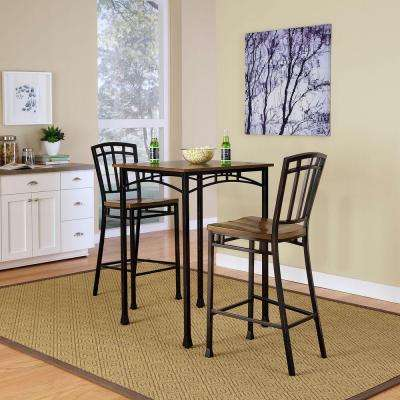 Modern Craftsman 3-Piece Deep Brown Bar Table Set