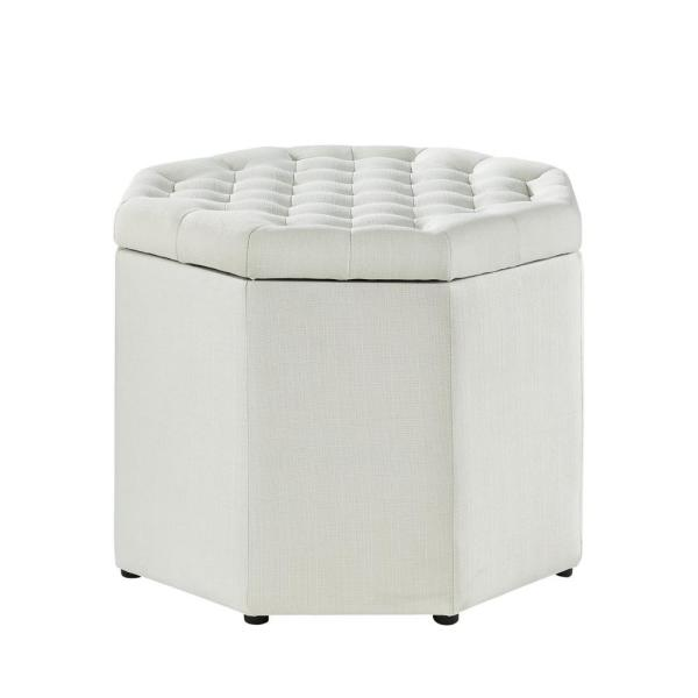 Inspired Home Luna Cream White Linen Upholstered Tufted Octagon Storage Ottoman