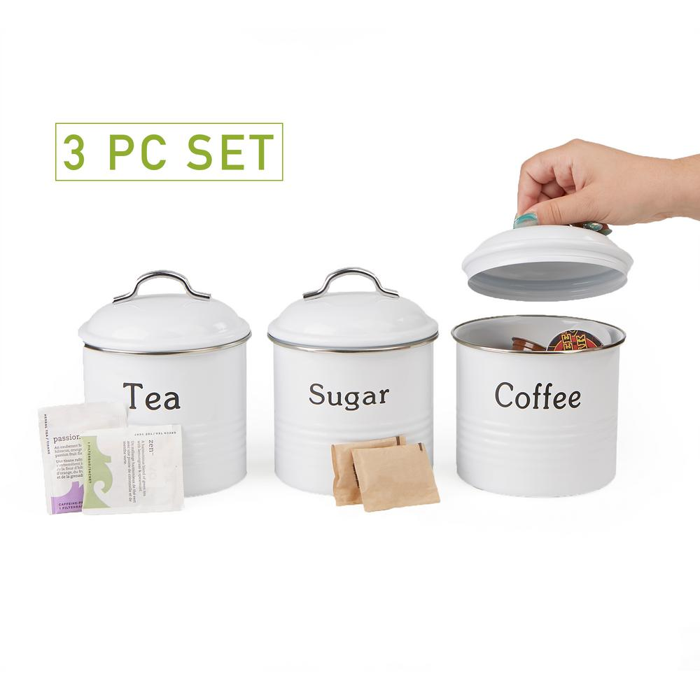 3c7a4740877a Mind Reader 3-Piece White Coffee, Sugar and Tea Metal Canister Set with Lid  CANCTS-WHT - The Home Depot
