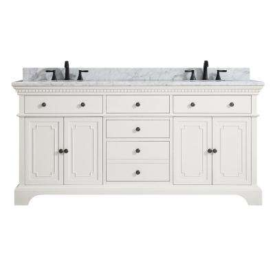 Hastings 73 in. W x 22 in. D x 35 in. H Vanity in French White with Marble Vanity Top in Carrera White with Basin