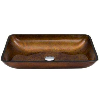 Rectangular Glass Vessel Sink in Russet Glass
