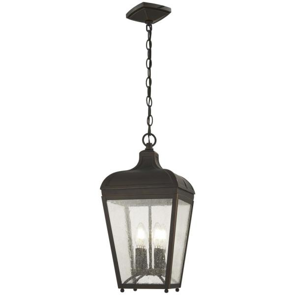Marquee Oil Rubbed Bronze Outdoor 4-Light Hanging Light with Gold Highlights