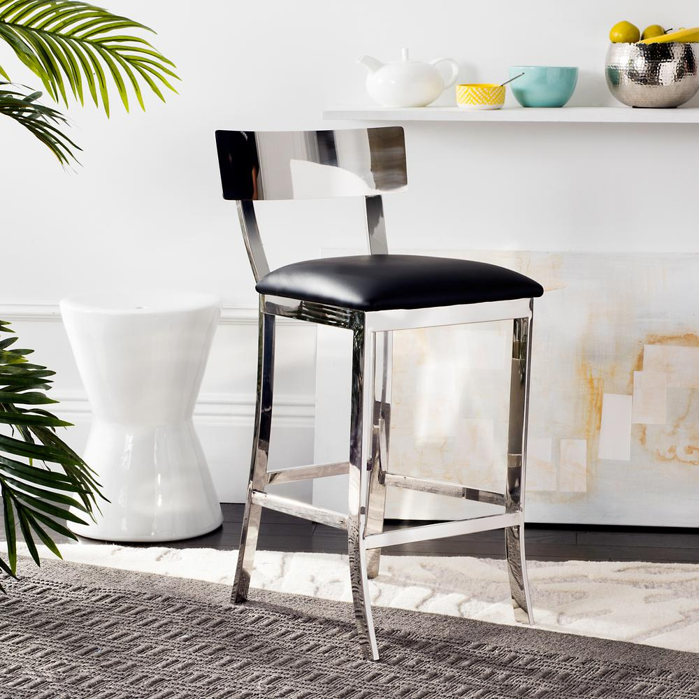 safavieh abby 26 5 in stainless steel counter stool in black fox2038a the home depot. Black Bedroom Furniture Sets. Home Design Ideas
