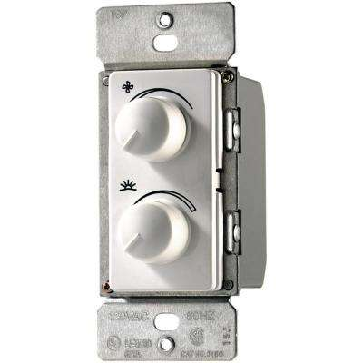 300-Watt 2.5 Amp Single-Pole Combination Quiet 3-Speed Fan Control and Dimmer, White