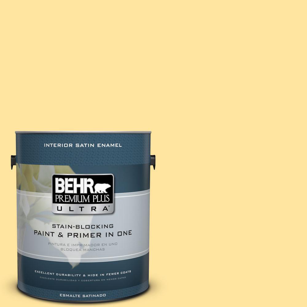 1 gal. #340B-4 Lemon Drops Satin Enamel Interior Paint and Primer
