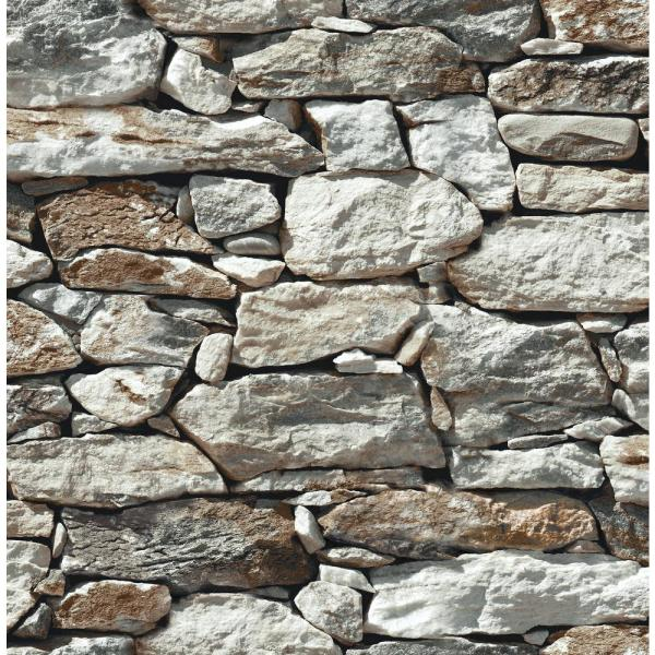 New York Greige and Rust Fieldstone Wallpaper