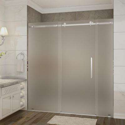 Moselle 72 in. x 35 in. x 77.5 in. Frameless Sliding Shower Door, Frosted Glass in Stainless Steel with Right Base