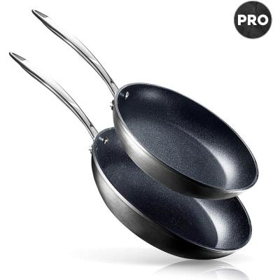Pro 10 in. and 11.5 in. Aluminum Ultra-Nonstick Hard Anodized Diamond Infused Induction Capable Fry Pan Set (2-Piece)