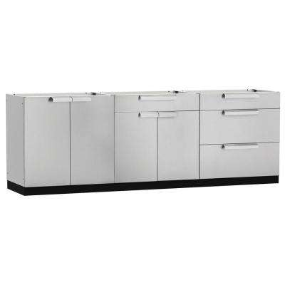 Stainless Steel Classic 3-Piece 120x360x24 in. Outdoor Kitchen Cabinet Set without Counter Tops