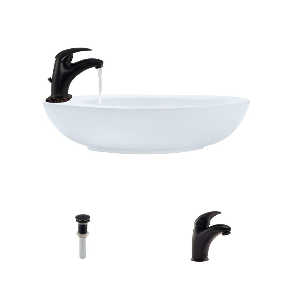Mr Direct Porcelain Vessel Sink In White With 722 Faucet