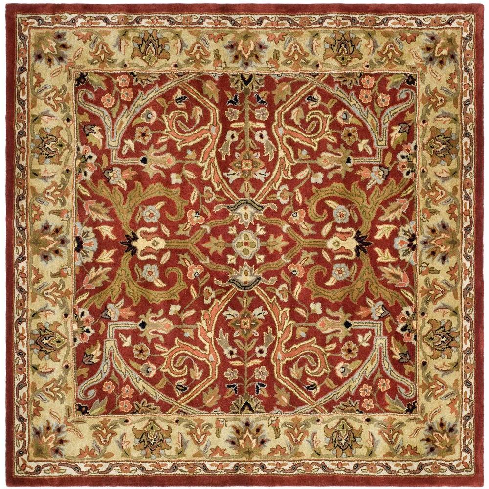 Hand Tufted Agra Red Gold Wool Rug 8 Round: Safavieh Heritage Red/Gold 8 Ft. X 8 Ft. Square Area Rug