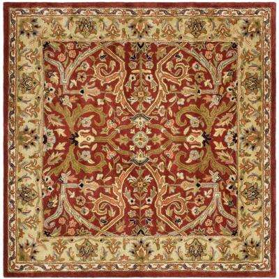 Square Red Gold Area Rugs