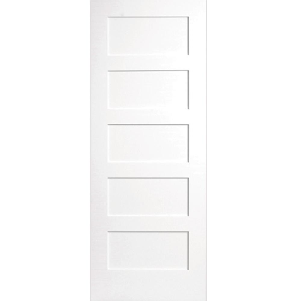 24 in. x 80 in. 5-Panel Primed White Shaker Solid Core