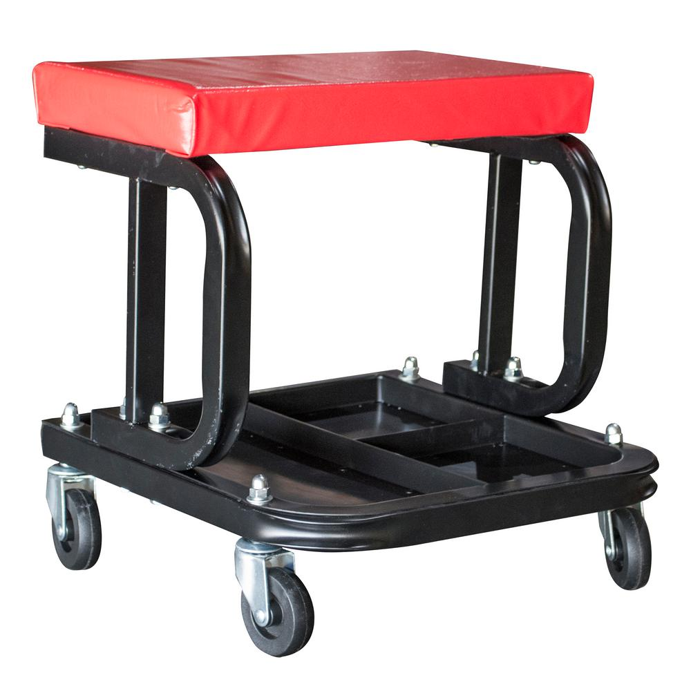 BLACK BULL Rolling Creeper Work Seat with Divided Organizer and Tool Tray