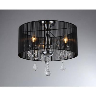 Victoria 3-Light Chrome Crystal Chandelier with Shade