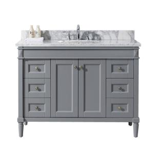 Virtu USA Tiffany 48 inch W x 22 inch D Vanity in Grey with Marble Vanity Top in White with White Basin by Virtu USA
