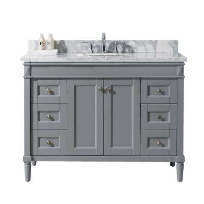 Tiffany 48 in. W x 22 in. D Vanity in Grey with Marble Vanity Top in White with White Basin