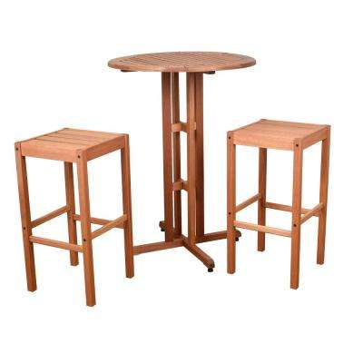 Eden 3-Piece Wood Round Outdoor Bistro Set