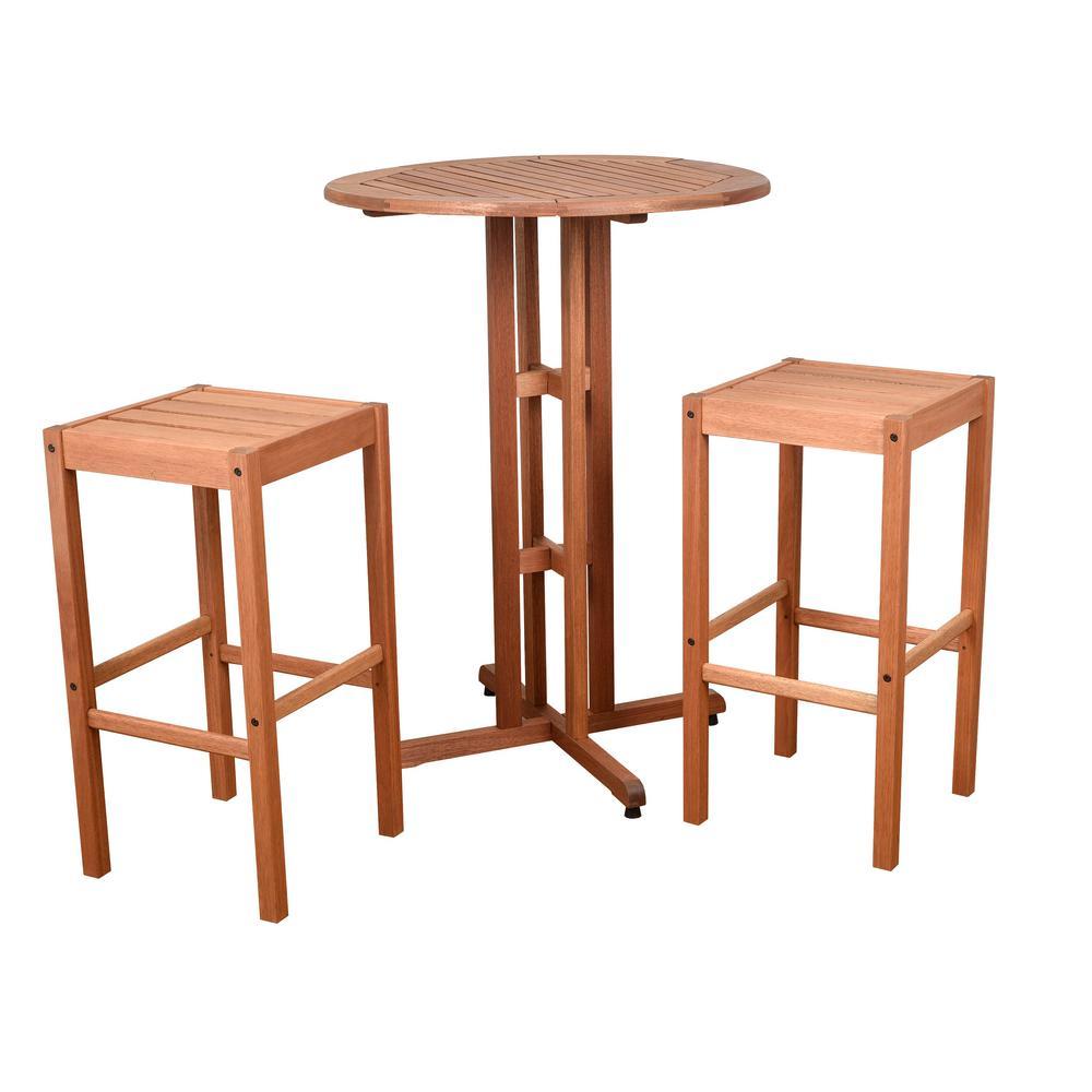 Eden 3 Piece Wood Round Outdoor Bistro Set