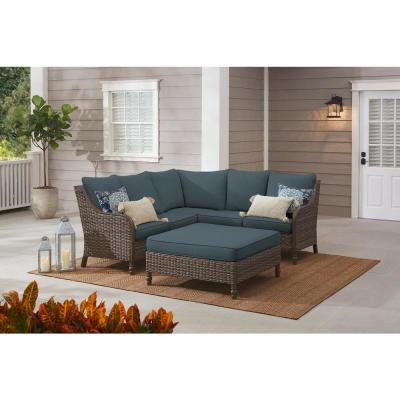 Windsor 4-Piece Brown Wicker Outdoor Patio Sectional Sofa with Ottoman and Sunbrella Denim Blue Cushions