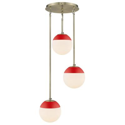 Dixon 3-Light Pendant in Aged Brass with Opal Glass and Red Cap