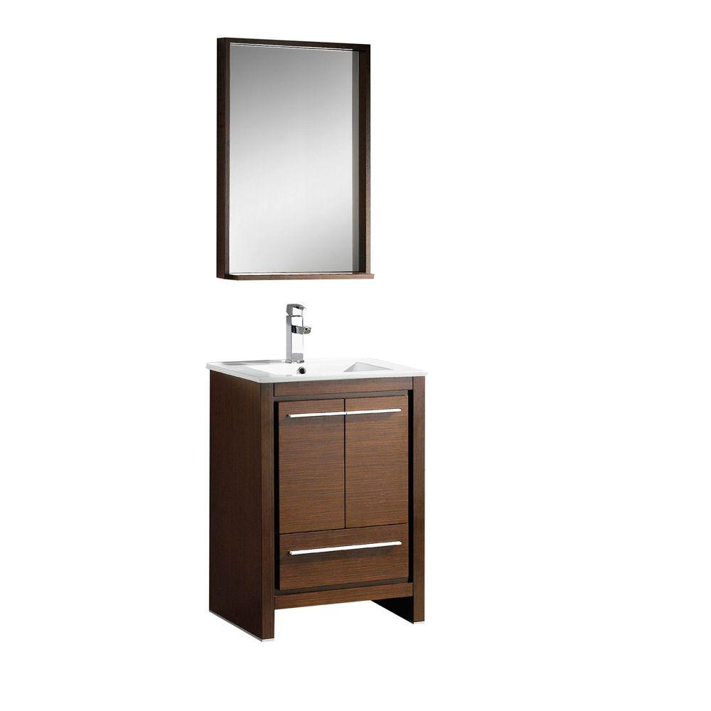 Fresca Allier 24 in. Vanity in Wenge Brown with Ceramic Vanity Top in White with White Basin and Mirror