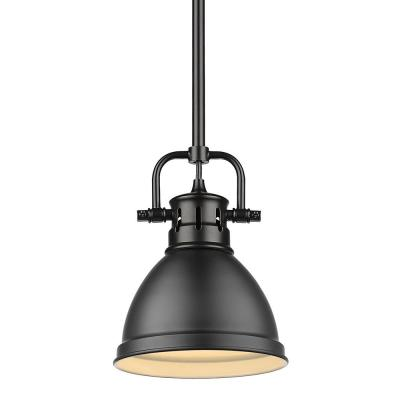 Duncan 1-Light Black Mini-Pendant and Rod with Matte Black Shade