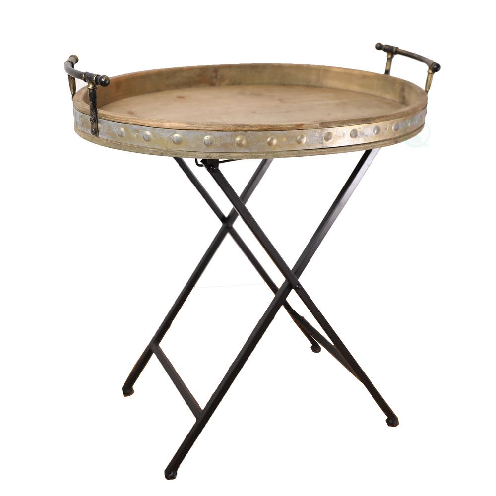 Vintiquewise Wood And Metal Serving Tray With Stand Folding Snack Table