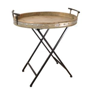 Vintiquewise Wood and Metal Serving Tray with Stand Folding Snack Table by Vintiquewise