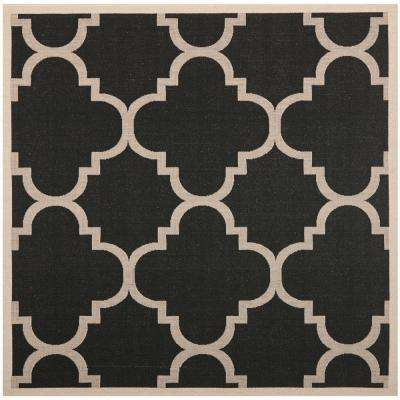Courtyard Black Beige 8 Ft X Indoor Outdoor Square Area