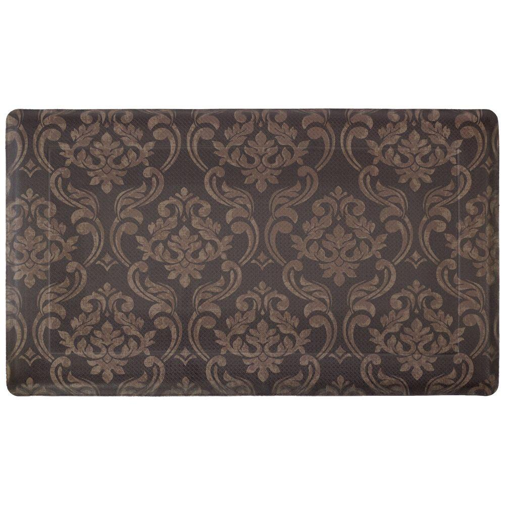 Chain Damask Chocolate/Linen 18 in. x 30 in. Foam Comfort Kitchen