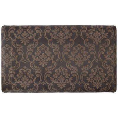 Chain Damask Chocolate/Linen 18 in. x 30 in. Foam Comfort Kitchen Mat