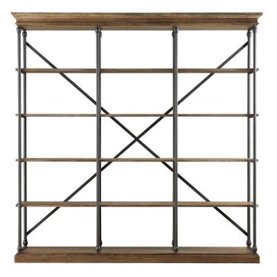84 in. Vintage Oak Metal 5-shelf Etagere Bookcase with Open Back