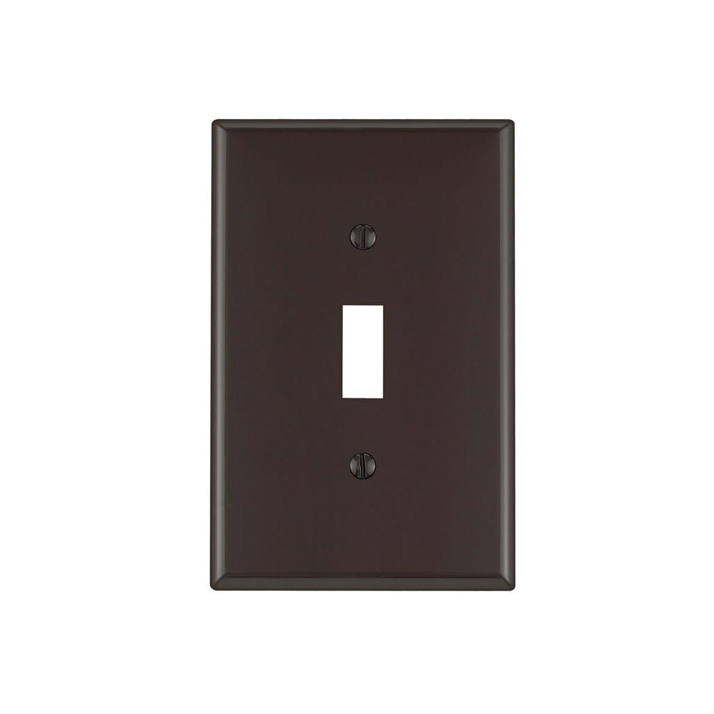 Leviton 1-Gang Midway Toggle Nylon Wall Plate, Brown-R50