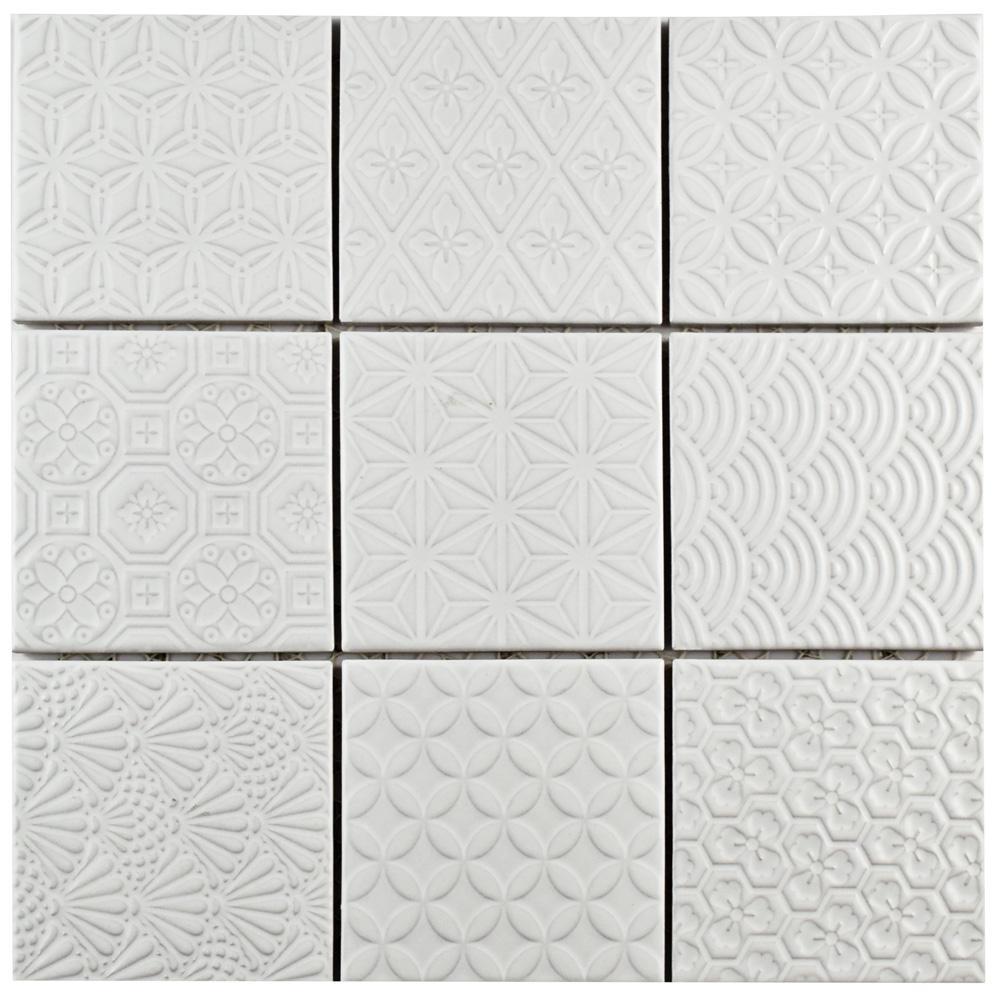 Merola Tile Spirit White 11-5/8 in. x 11-5/8 in. x 6 mm Porcelain Mosaic Tile