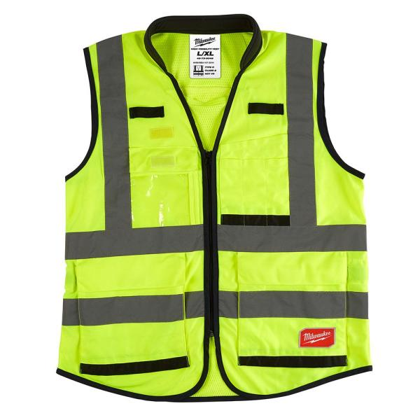 Premium Large/X-Large Yellow Class 2 High Visibility Safety Vest with 15 Pockets