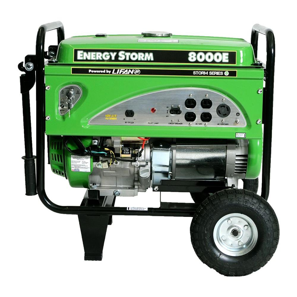 LIFAN Energy Storm 8,000-Watt 420 cc Gasoline Powered Electric Start Portable Generator with CARB