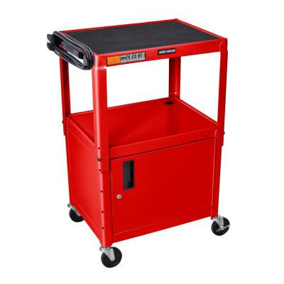 Adjustable Height 24 in. Steel A/V Cart with Cabinet in Red