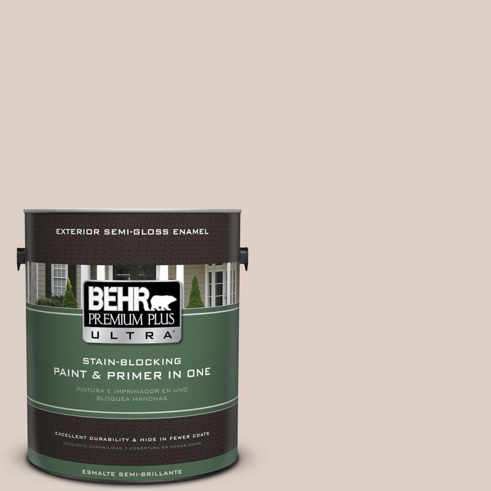 BEHR Premium Plus Ultra 1-gal. #ppl-77 Cocoa Parfait Semi-Gloss Enamel Exterior Paint, Beige/Ivory