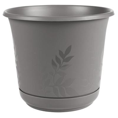 Freesia 12 in. x 11 in. Charcoal Plastic Planter with Saucer