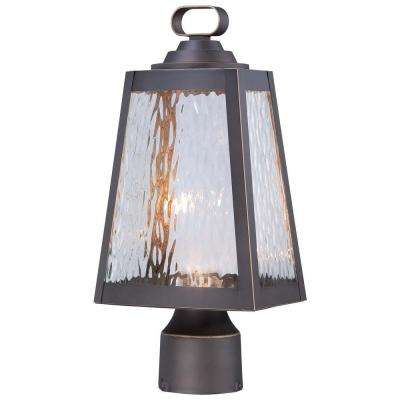 Talera LED 1-Light Oil Rubbed Bronze Outdoor LED Post Mount with Gold Highlights