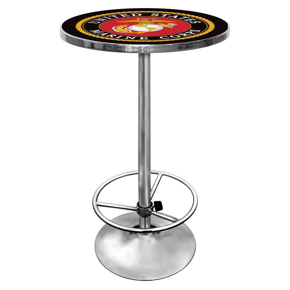 United States Marine Corps Chrome Pub/Bar Table