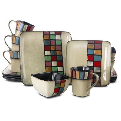 Color Melange 16-Piece Multicolored Square Stoneware Dinnerware Set (Service for 4)