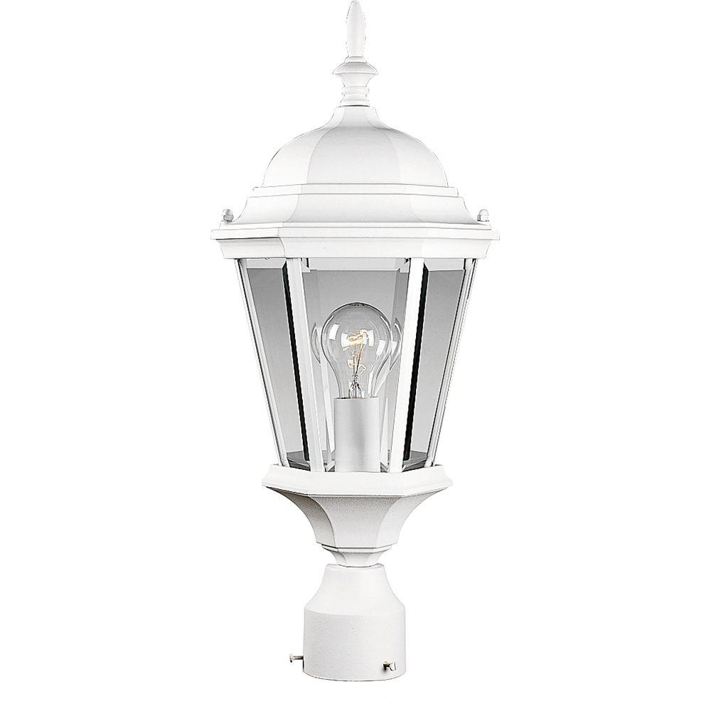 Progress Lighting Welbourne Collection 1-Light Textured White Outdoor Post Lantern