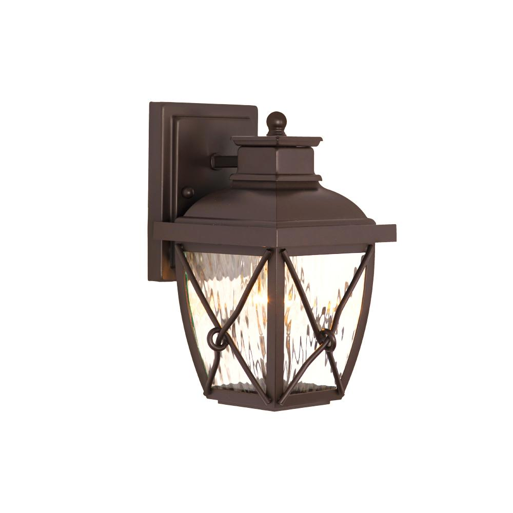 Home Decorators Collection Springbrook 9 75 In 1 Light Clear Water Gl Outdoor Rustic Wall Mount Lantern Sconce