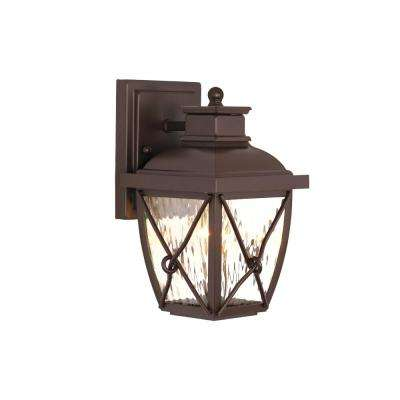 Springbrook 9.75 in. 1-Light Clear Water Glass Outdoor Rustic Wall Mount Lantern Sconce